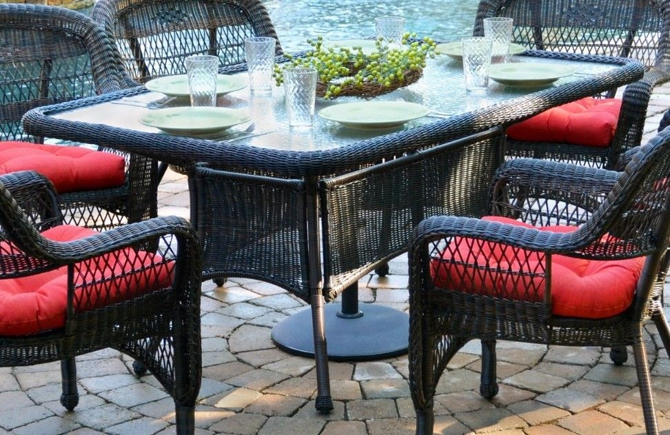 #2 - 7 Pcs Outdoor Patio Garden Dining Set w/ Dark Roast Resin Wicker & Monti Pompeii