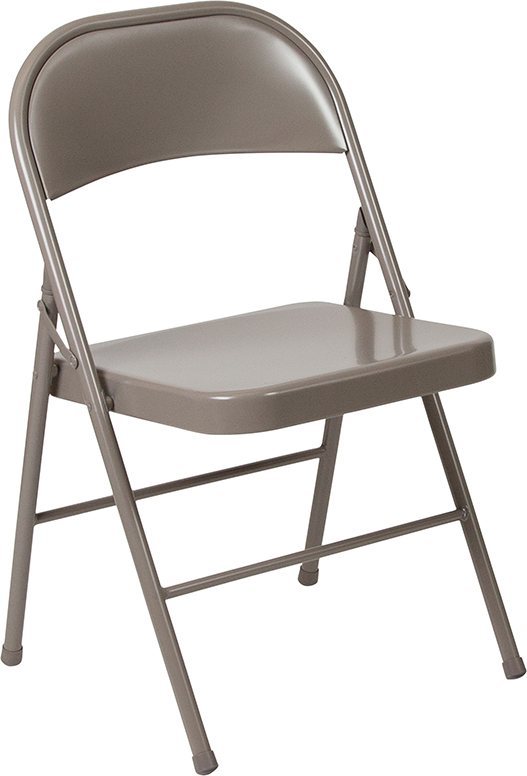 #2 - Double Braced Beige Metal Folding Chair