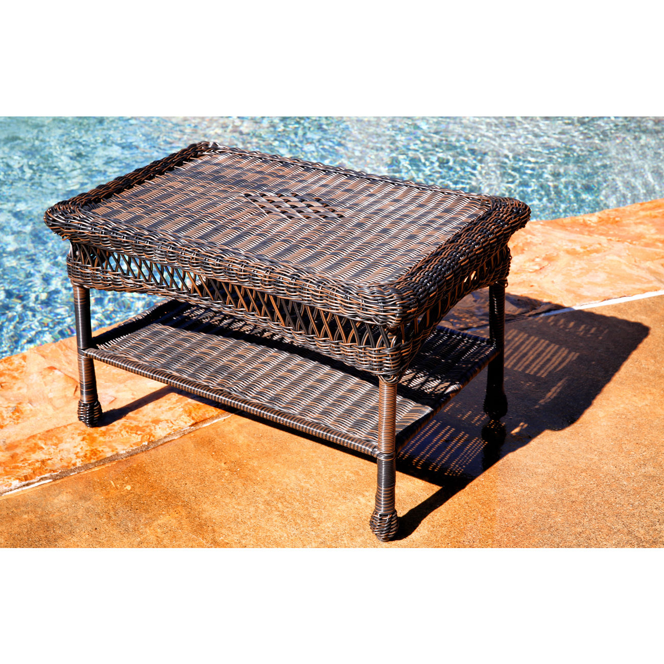 #214 - Outdoor & Indoor Stylish Hand Woven Resin Wicker Coffee Table in White
