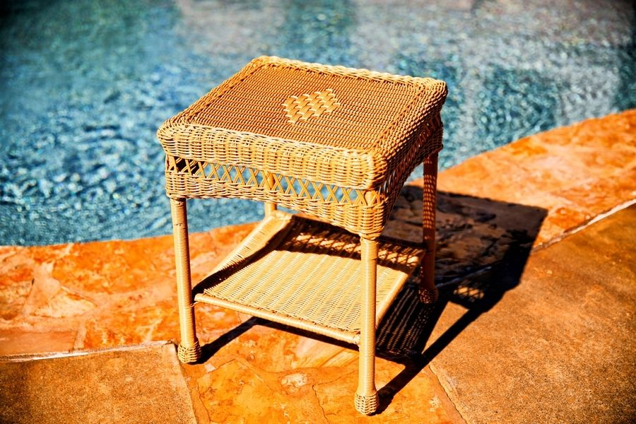 #215 - Outdoor & Indoor Stylish Hand Woven Resin Wicker Side Table in Amber Wicker