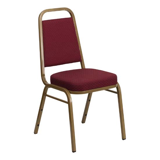 #34 - TRAPEZOIDAL BACK BANQUET CHAIR WITH BURGUNDY FABRIC