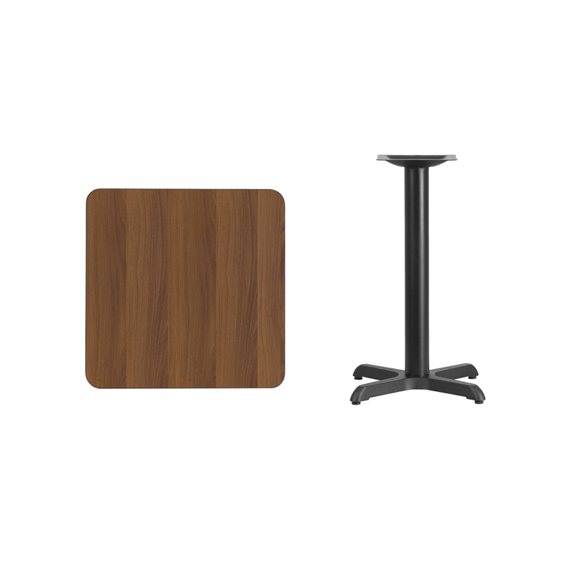 #70 - 24'' Square Walnut Laminate Table Top with 22'' x 22'' Table Height Base
