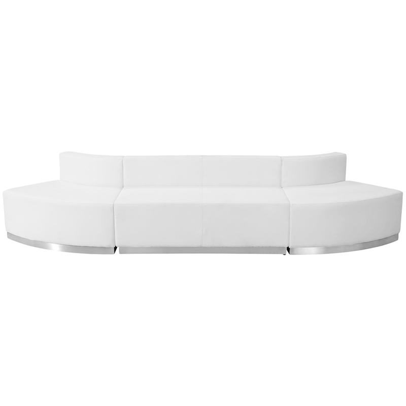 #75 - LOUNGE SERIES WHITE LEATHER RECEPTION CONFIGURATION, 3 PIECES
