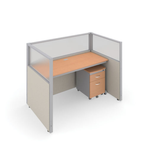 #14 - 47'' H x 60'' W Rize Office Privacy WorkStation in Beige Vinyl w/Maple Finish