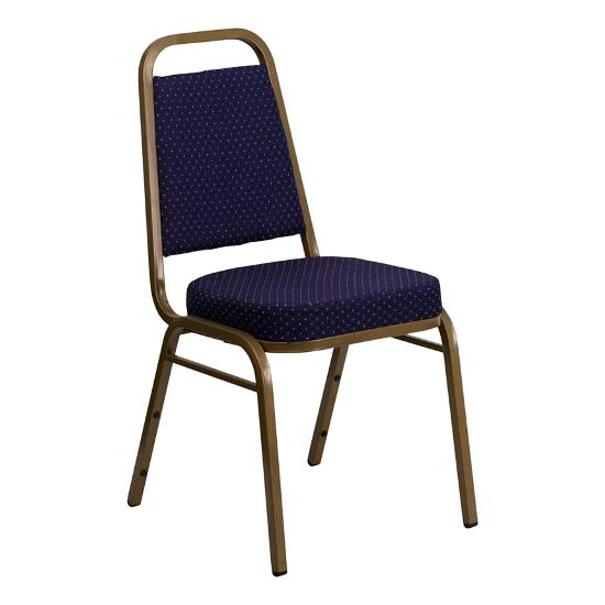 #36 - TRAPEZOIDAL BACK BANQUET CHAIR WITH NAVY FABRIC
