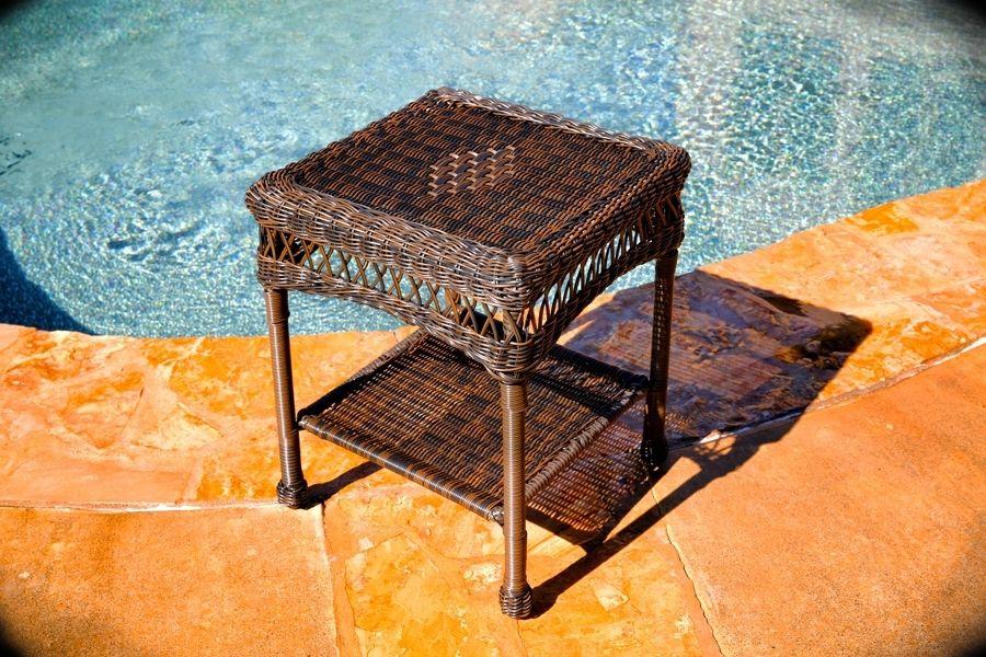 #217 - Outdoor & Indoor Stylish Hand Woven Resin Wicker Side Table in Dark Roast