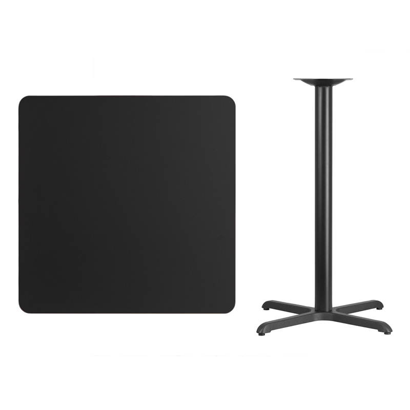 #89 - 36'' SQUARE BLACK LAMINATE TABLE TOP WITH 30'' X 30'' BAR HEIGHT BASE