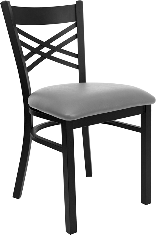 #101 - BLACK ''X'' BACK METAL RESTAURANT CHAIR - GRAY VINYL SEAT