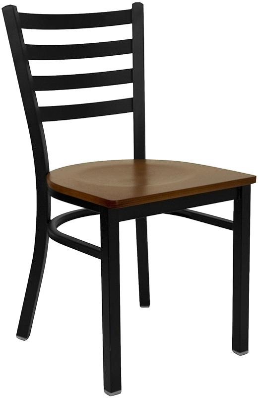 #68 - BLACK LADDER BACK METAL RESTAURANT CHAIR - CHERRY WOOD SEAT