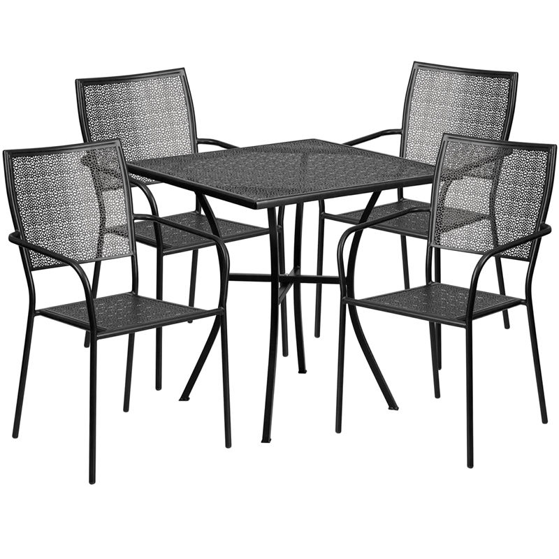 #118 - 28'' Square Black Indoor-Outdoor Patio Resturant Table Set with 4 Sqaure Back Chairs