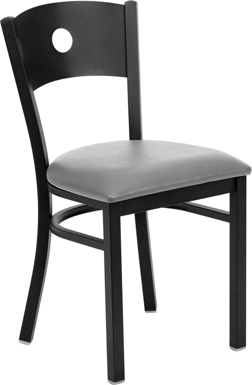 #104 - BLACK CIRCLE BACK METAL RESTAURANT CHAIR - BLACK VINYL SEAT