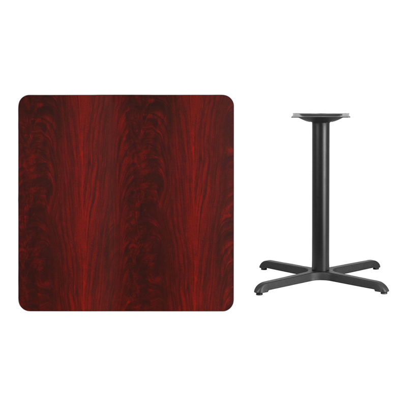 #90 - 36'' SQUARE MAHOGANY LAMINATE TABLE TOP WITH 30'' X 30'' TABLE HEIGHT BASE