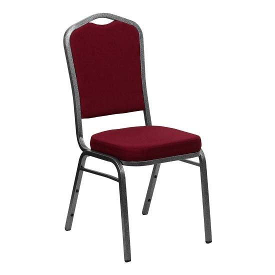 #11 - CROWN BACK BANQUET CHAIR WITH BURGUNDY FABRIC
