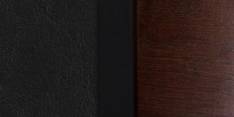 #1 - DECORATIVE SLAT BACK METAL RESTAURANT CHAIR - WALNUT WOOD &  BLACK VINYL