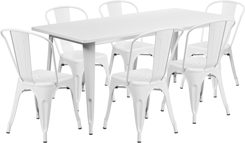 #84 - 31.5'' x 63'' Rectangular White Metal Indoor-Outdoor Table Set with 6 Stack Chairs