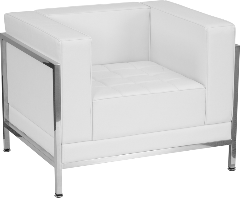 #91 - IMAGINATION SERIES CONTEMPORARY WHITE LEATHER CHAIR WITH ENCASING FRAME