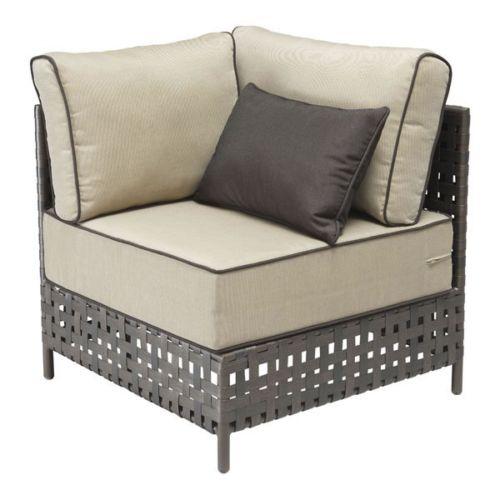 #226 - Modern Style Corner Chair in Beige w/Plush Beige Cushions - Outdoor Furniture