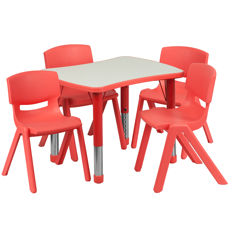 #18 - 21.875''W X 26.625''L ADJUSTABLE RECTANGULAR RED PLASTIC ACTIVITY TABLE SET WITH 4 SCHOOL STACK CHAIRS