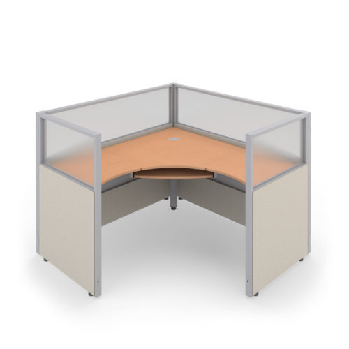 #22 - 47'' H x 60'' W Rize 1x1 Office WorkStation Cubicle Beige Vinyl w/ Maple Finish