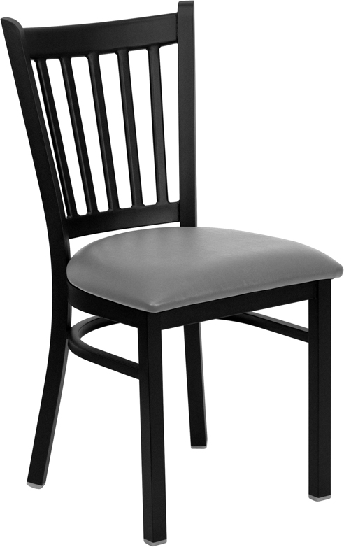 #108 - BLACK VERTICAL BACK METAL RESTAURANT CHAIR - BLACK VINYL SEAT