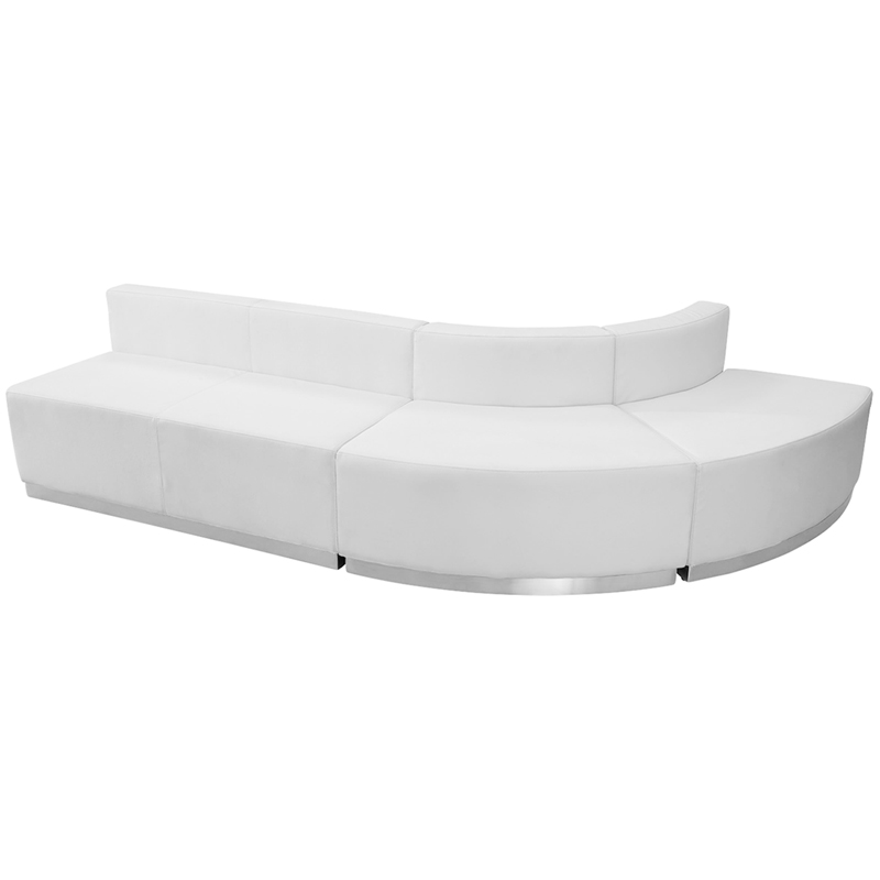 #76 - LOUNGE SERIES WHITE LEATHER RECEPTION CONFIGURATION, 3 PIECES