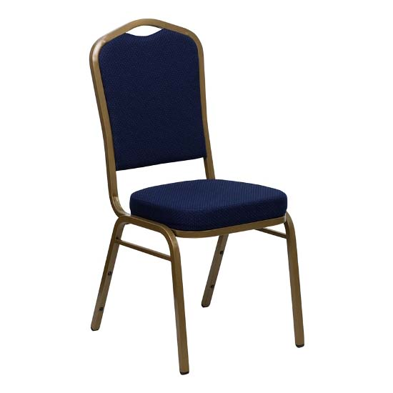 #21 - CROWN BACK BANQUET CHAIR WITH NAVY BLUE FABRIC