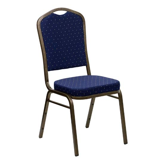 #22 - CROWN BACK BANQUET CHAIR WITH NAVY BLUE FABRIC