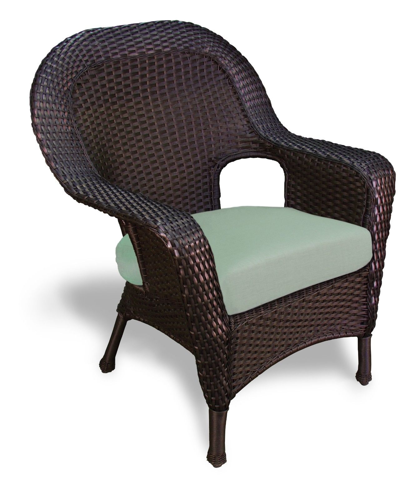 #144 - Outdoor Patio Garden Furniture Tortoise Resin Wicker Dining Chair in Rave Spearmint