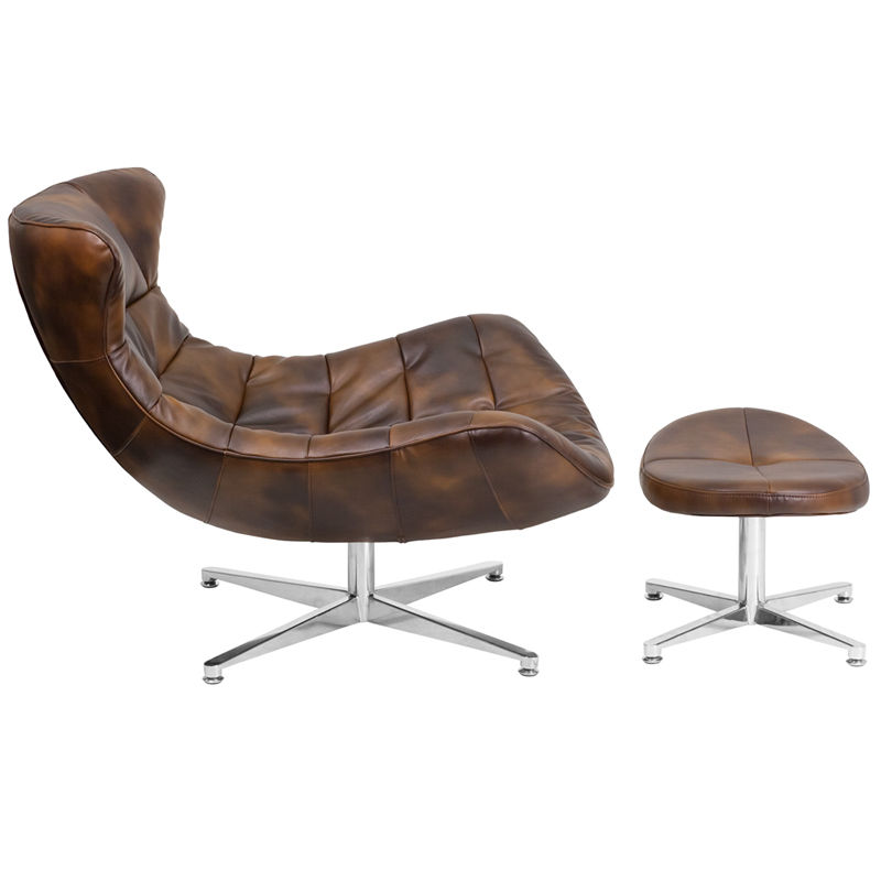#54 - Retro Style Bomber Jacket Leather Cocoon Accent Chair with Ottoman - Lounge Chair