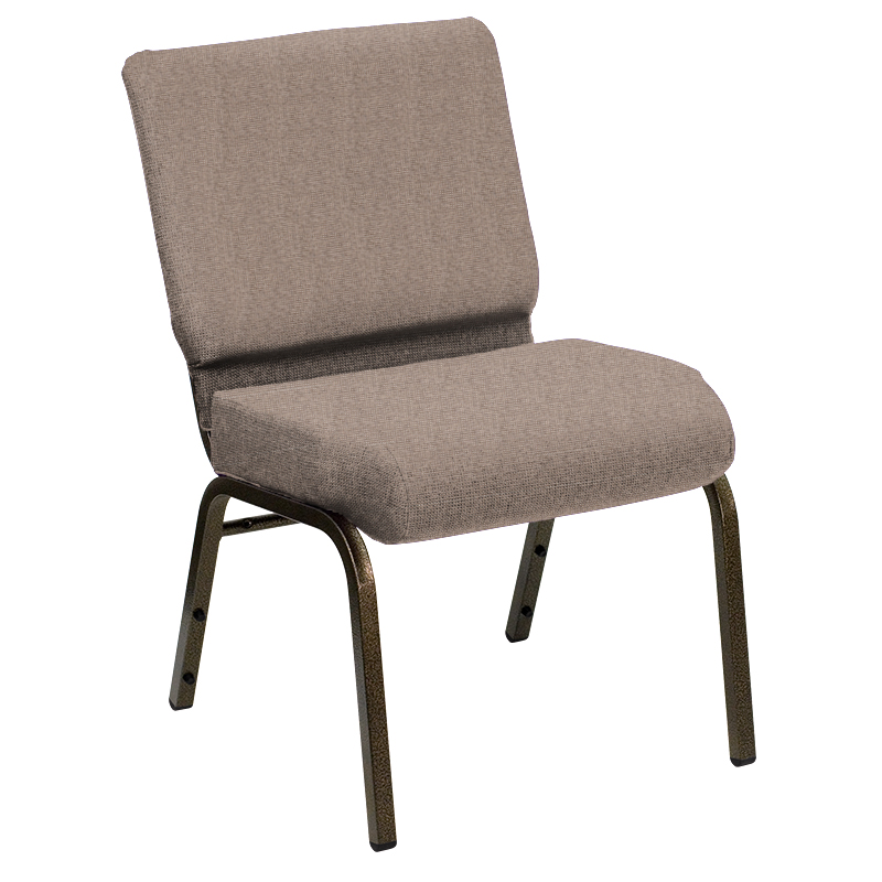 #245 - 21'' EXTRA WIDE SHIRE SESAME FABRIC CHURCH CHAIR WITH GOLD VEIN FRAME