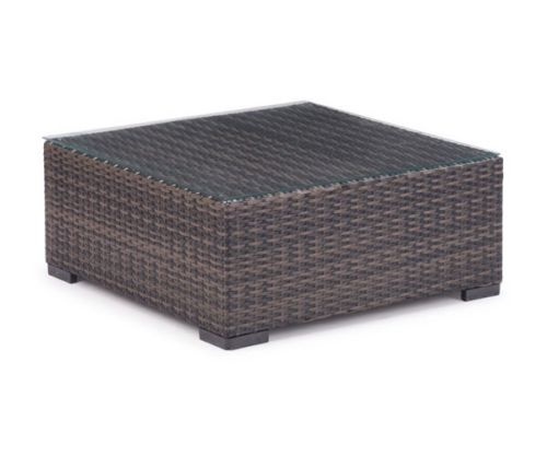 #230 - Wicker Style Coffee Table in Brown w/Clear Glass Top - Outdoor Furniture