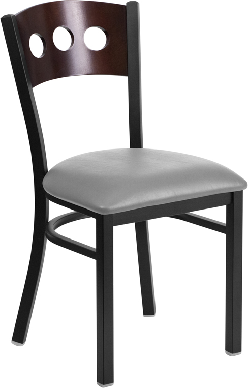 #112 - DECORATIVE 3 CIRCLE BACK METAL RESTAURANT CHAIR - WALNUT WOOD & GRAY VINYL