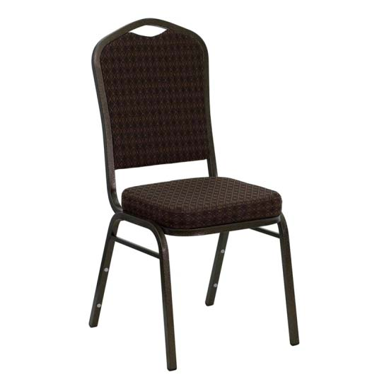 #6 - CROWN BACK BANQUET CHAIR WITH BROWN FABRIC
