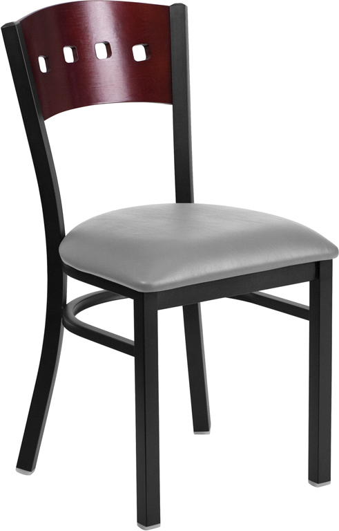 #113 - DECORATIVE 4 SQUARE BACK METAL RESTAURANT CHAIR - MAHOGANY WOOD & GRAY VINYL