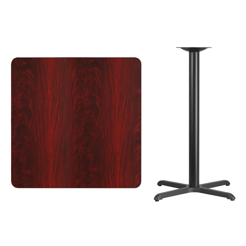 #91 - 36'' SQUARE MAHOGANY LAMINATE TABLE TOP WITH 30'' X 30'' BAR HEIGHT BASE