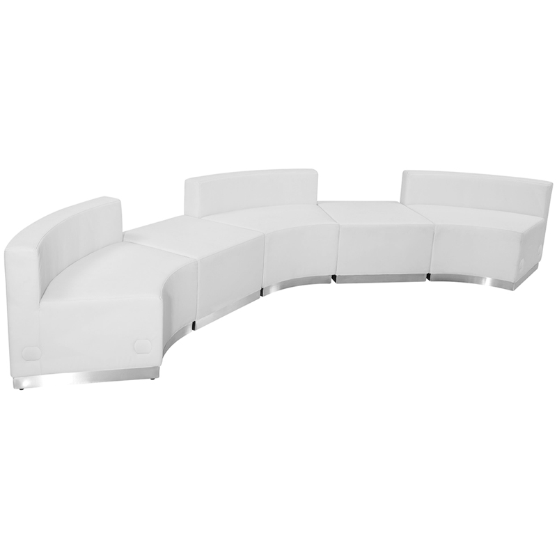 #77 - LOUNGE SERIES WHITE LEATHER RECEPTION CONFIGURATION, 5 PIECES