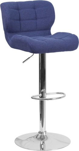 #233 - Contemporary Tufted Blue Fabric Adjustable Height Barstool w/Chrome Base