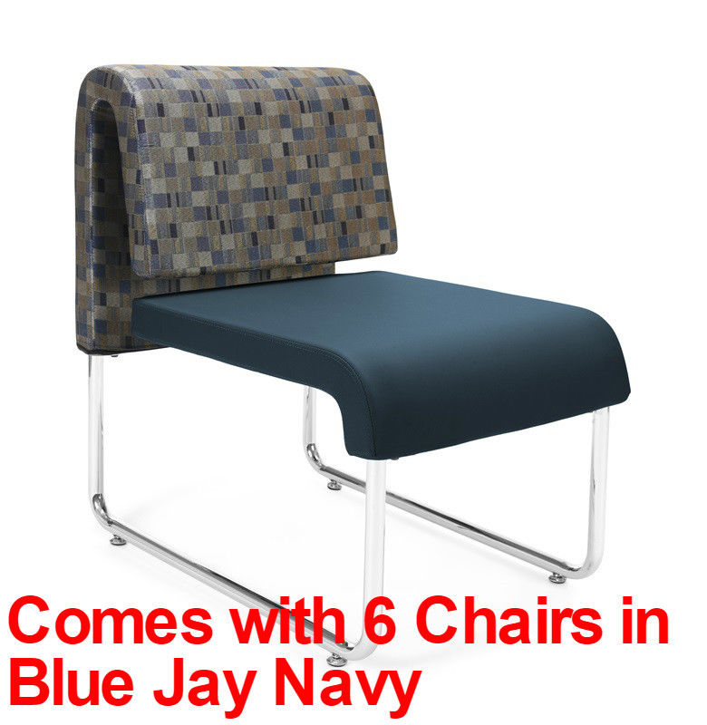 #52 -(9 PCS)UNO Series Lounge Package w/Blue Jay Navy Chairs & Windswept Bronze Table