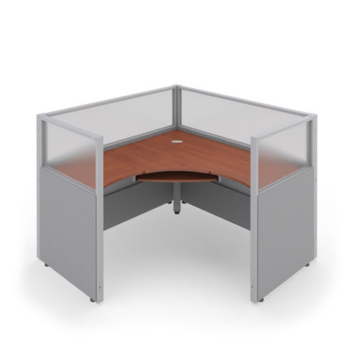 #23 - 47'' H x 60'' W Rize 1x1 Office WorkStation Cubicle Gray Vinyl w/ Cherry Finish