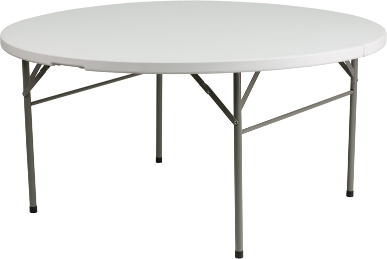 #23 - 60'' ROUND BI-FOLD GRANITE WHITE PLASTIC FOLDING TABLE