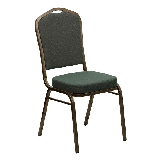 #15 - CROWN BACK BANQUET CHAIR WITH GREEN FABRIC