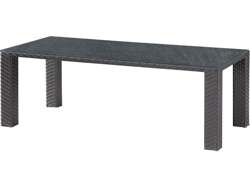 #237 - Wicker Style Outdoor Dining Table in Espresso with Tempered Glass Top