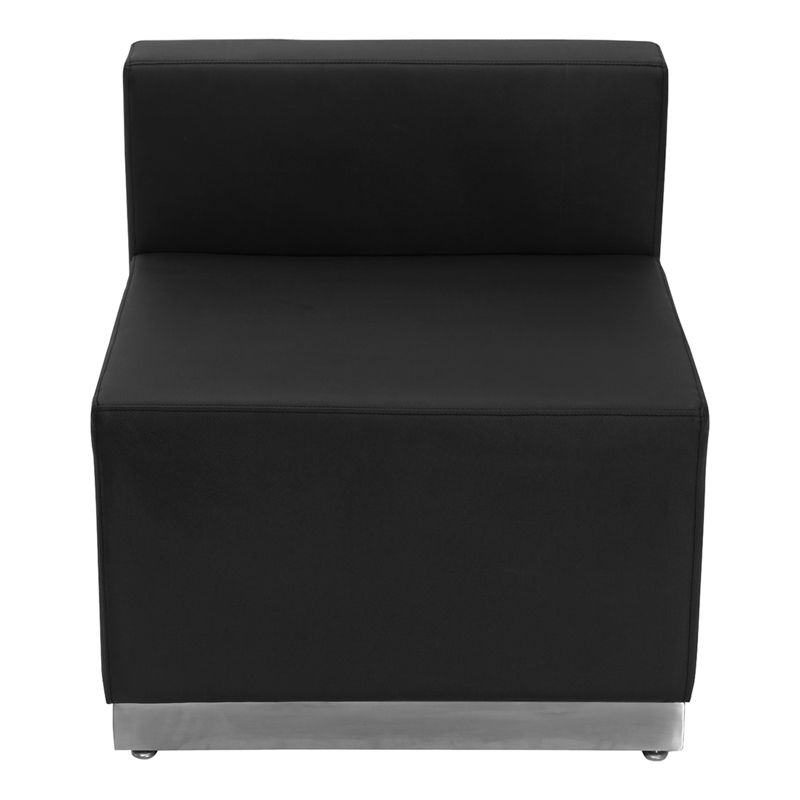 #1 - LOUNGE SERIES BLACK LEATHER CHAIR WITH BRUSHED STAINLESS STEEL BASE