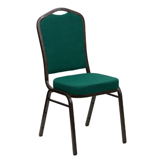 #16 - CROWN BACK BANQUET CHAIR WITH GREEN FABRIC