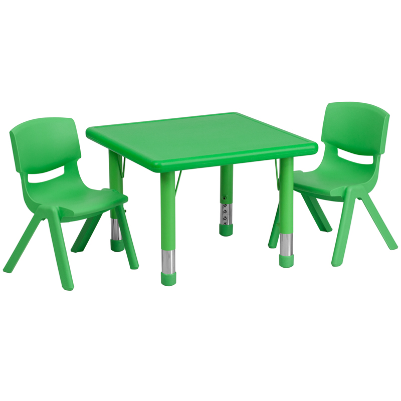 #21 - 24'' SQUARE ADJUSTABLE GREEN PLASTIC ACTIVITY TABLE SET WITH 2 SCHOOL STACK CHAIRS