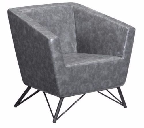 #112 - Modern Design Accent Chair in Marble Looked Prussian Gray Leatherette Fabric