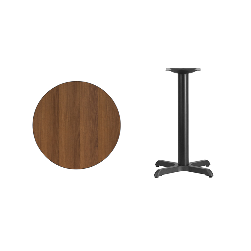 #7 - 24'' Round Walnut Laminate Table Top with 22'' x 22'' Table Height Base