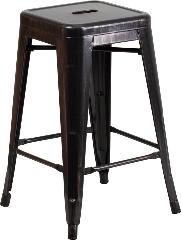 #105 - 24'' High Backless Metal Barstool in Black Antique Gold