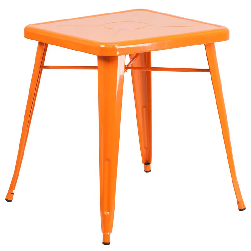 #5 - 23.75'' Square Orange Metal Indoor and Outdoor Restaurant Table