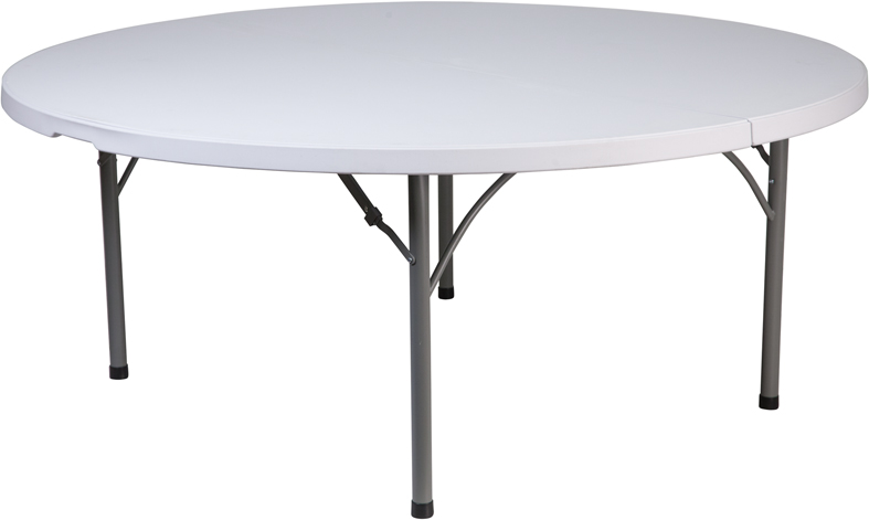"#24 - 71"" Round Commercial Quality Granite White Plastic Folding Banquet Table"